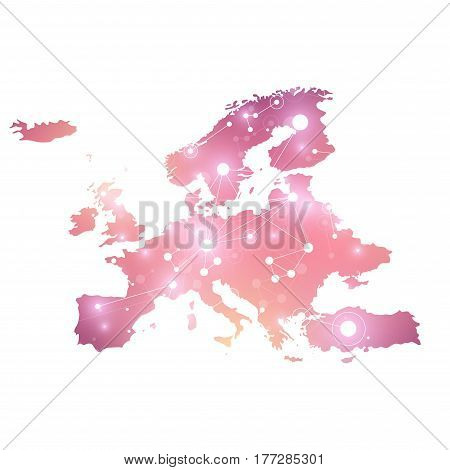 Europe Map. Geometric graphic background communication. Big data complex with compounds. Perspective graphic backdrop. Digital data visualization. Minimalistic chaotic design, vector illustration