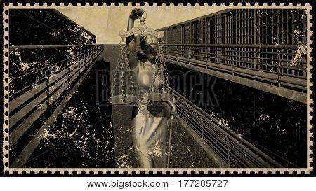 Prison bars and a hallway postage stamp 3d rendering