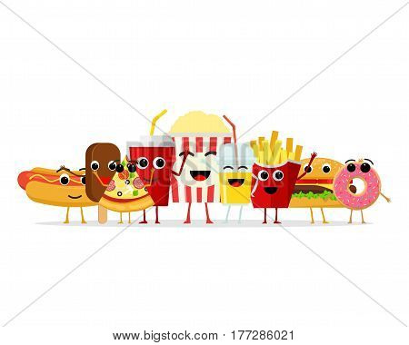 Funny fast food characters isolated on white background. Happy smile cartoon face fastfood, comical snack vector illustartion