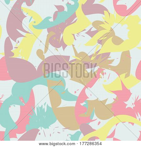 Abstract seamless pattern with colorful floral silhouettes