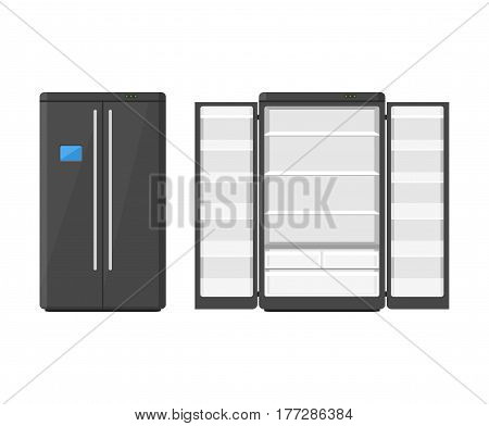 Black modern household appliances fridge with two doors isolated on white background. Electronic device refrigerator open and closed. Home appliance freezer vector illustration.