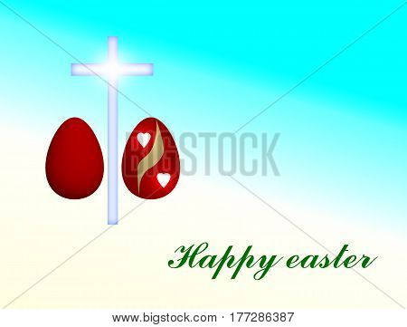 happy Easter card - red eggs and cross illustration with turquoise background