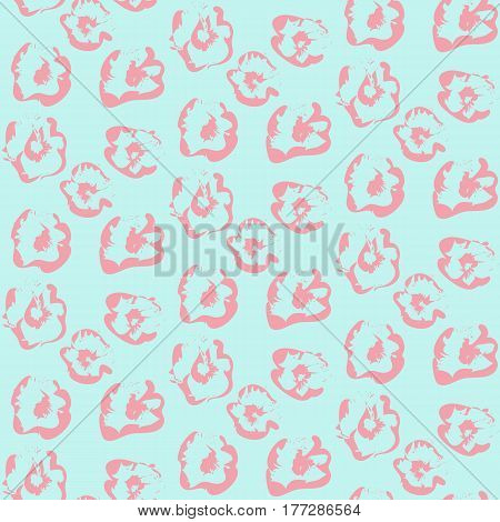 Seamless outline pink floral pattern on the blue background