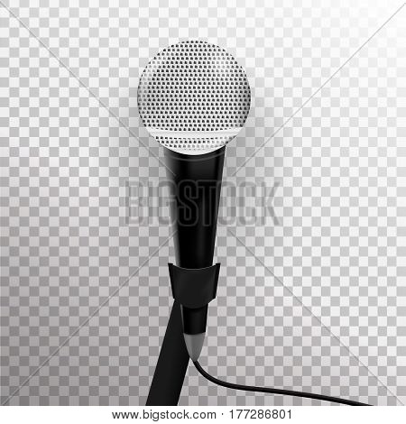 Vector realistic microphone on the transparent background.