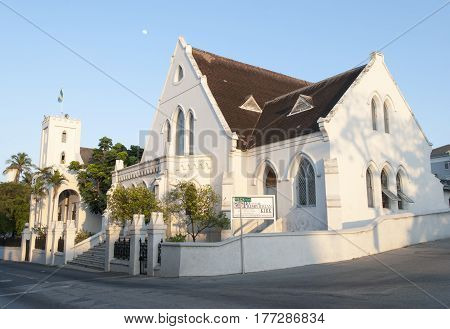 Nassau city St. Andrew's Presbyterian Kirk in a sunset light (Bahamas).