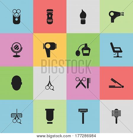 Set Of 16 Editable Hairstylist Icons. Includes Symbols Such As Shaving, Hairdresser Set, Hair Drier And More. Can Be Used For Web, Mobile, UI And Infographic Design.