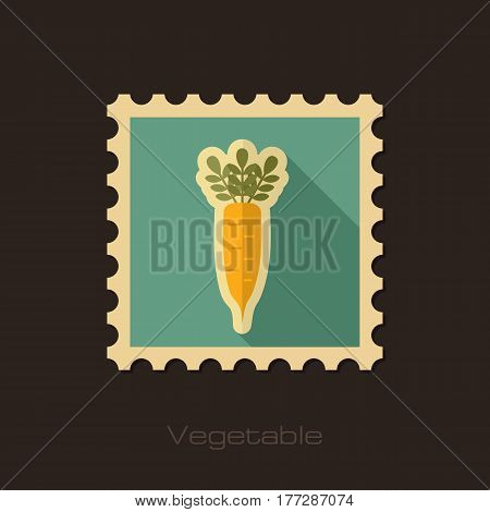 Daikon flat stamp. Vegetable root vector illustration