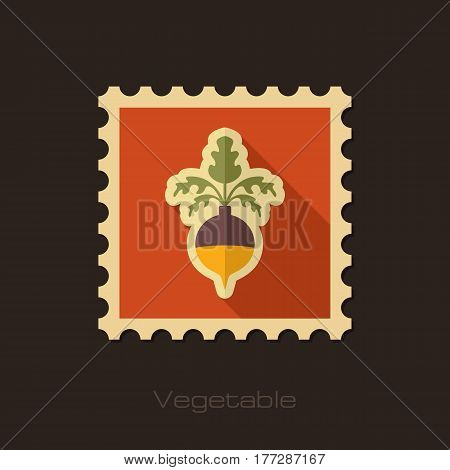 Rutabaga or Swede flat stamp. Vegetable root vector illustration