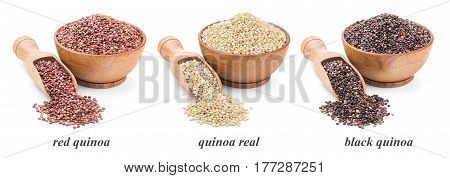 quinoa collection isolated on white background. Deep focus