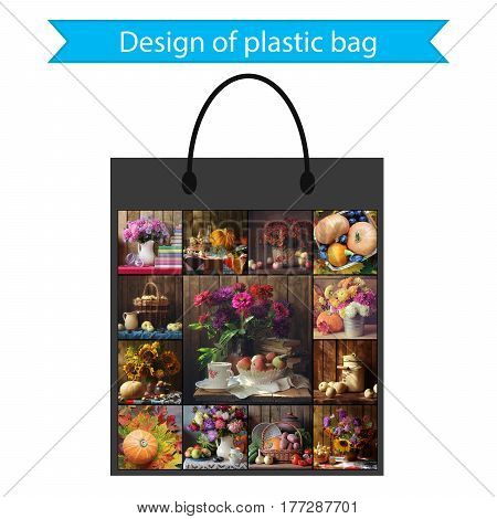The design of a plastic bag for buying food or gifts.
