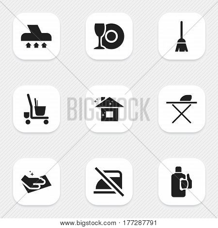 Set Of 9 Editable Cleanup Icons. Includes Symbols Such As Bleach, Exhauster, Pure Home And More. Can Be Used For Web, Mobile, UI And Infographic Design.