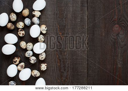 Wooden Background With Various Chicken And Quail Eggs