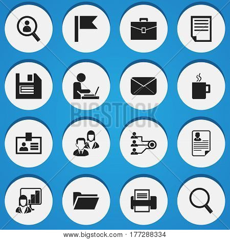 Set Of 16 Editable Bureau Icons. Includes Symbols Such As File, Printing Machine, Document And More. Can Be Used For Web, Mobile, UI And Infographic Design.