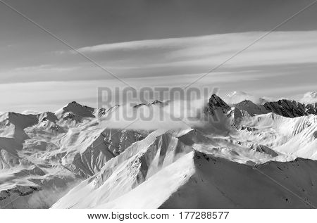 Black And White Panorama Of Winter Snow Mountains