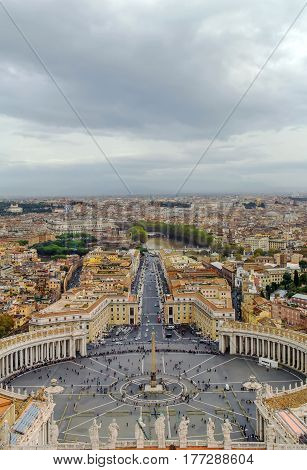 View of St. Peter Square and Rome from the Dome of St. Peter Basilica Vatican