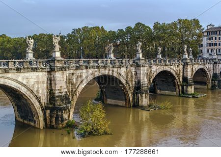 Ponte Sant'Angelo once the Aelian Bridge meaning the Bridge of Hadrian is a Roman bridge in Rome Italy completed in 134 AD by Roman Emperor Hadrian