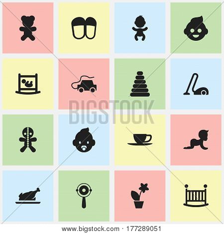 Set Of 16 Editable Kin Icons. Includes Symbols Such As Infant Bed, Toy, Newborn Baby And More. Can Be Used For Web, Mobile, UI And Infographic Design.