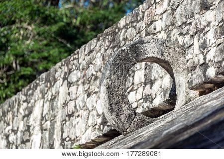Mayan Ball Court Closeup View