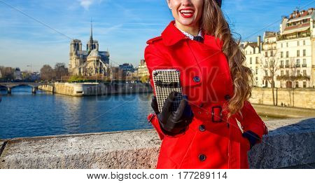 Smiling Traveller Woman In Paris Taking Selfie With Phone