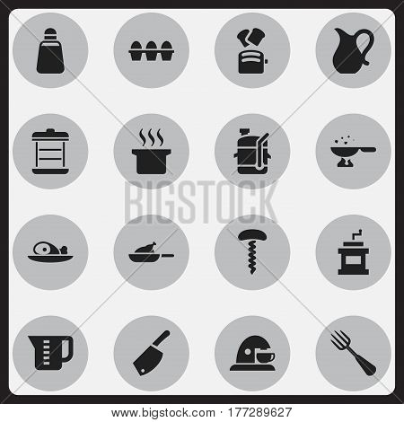 Set Of 16 Editable Cook Icons. Includes Symbols Such As Boiler, Wine Opener, Mensural And More. Can Be Used For Web, Mobile, UI And Infographic Design.