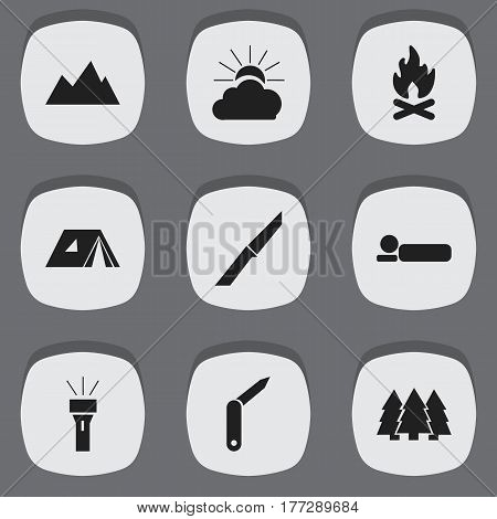 Set Of 9 Editable Camping Icons. Includes Symbols Such As Shelter, Pine, Clasp-Knife And More. Can Be Used For Web, Mobile, UI And Infographic Design.