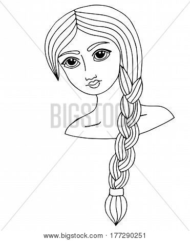 Portrait of a beautiful girl with long hair. Vector Illustration. Trendy print. Girl portrait for coloring book card invitation posters placards banners.