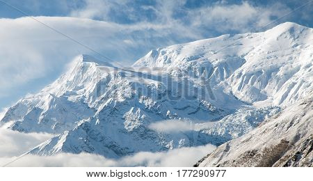 View of Annapurna 3 III Annapurna range way to Thorung La pass Nepal