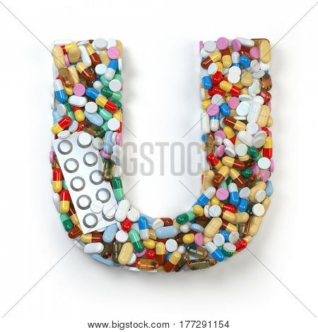 Letter U. Set of alphabet of medicine pills, capsules, tablets and blisters isolated on white. 3d illustratio