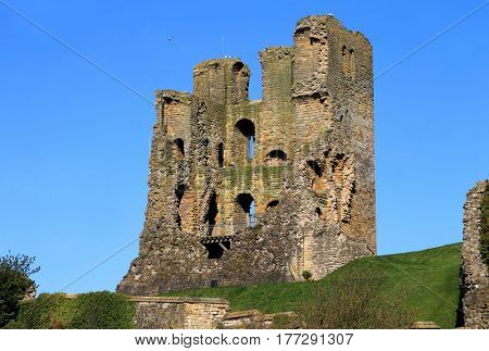 Ruins of Scarborough Castle on the Headland, North Yorkshire, England,.