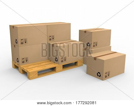 Cardboard boxes on wooden palette isolated on white background. 3d illustration.