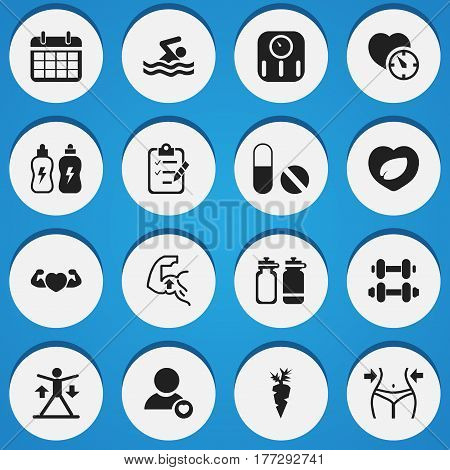 Set Of 16 Editable Fitness Icons. Includes Symbols Such As Questionnaire, Slimming, Training And More. Can Be Used For Web, Mobile, UI And Infographic Design.