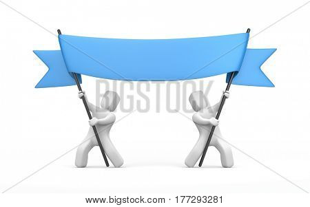 Two 3D character stretch blue banner. 3d illustration
