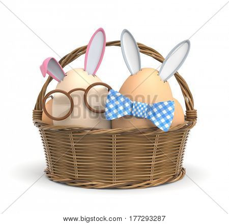 Two Easter Bunny in a basket. 3d illustration