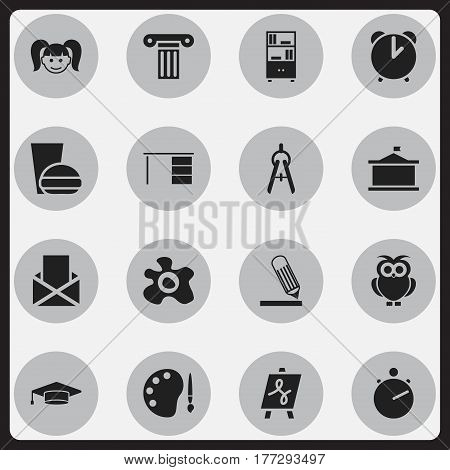 Set Of 16 Editable Education Icons. Includes Symbols Such As Graduate, Pillar, Bookcase And More. Can Be Used For Web, Mobile, UI And Infographic Design.