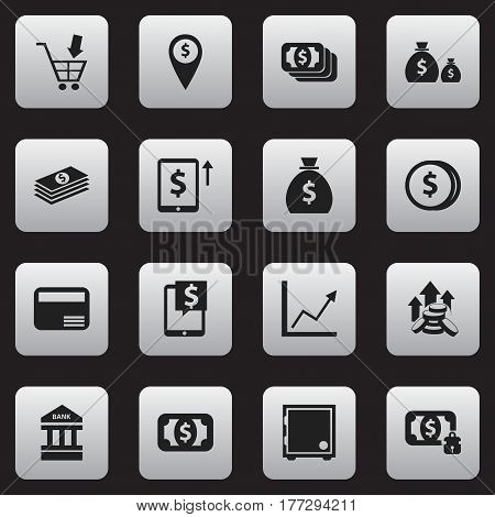 Set Of 16 Editable Banking Icons. Includes Symbols Such As Salary, Holdall, Specie And More. Can Be Used For Web, Mobile, UI And Infographic Design.