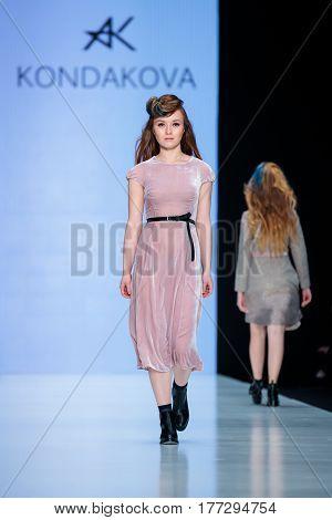 MOSCOW RUSSIA - MARCH 14 2017: Model walk runway for KONDAKOVA catwalk at Fall-Winter 2017-2018 at Mercedes-Benz Fashion Week Russia.