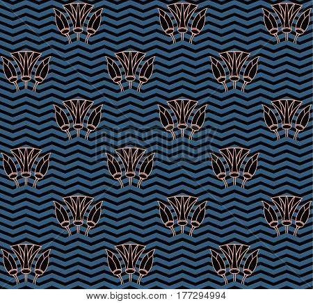 Abstract water lilies seamless pattern  background vector in blue and black colors