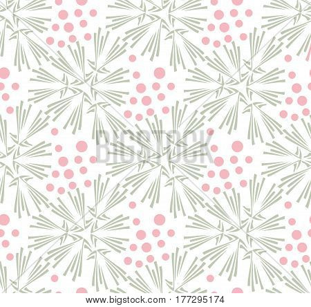 Taraxacum floral seamless pattern vector. Background with grey flowers and pink polka dots