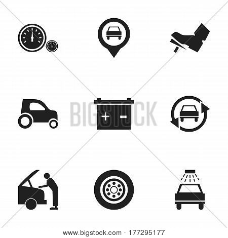 Set Of 9 Editable Vehicle Icons. Includes Symbols Such As Pointer, Accumulator, Treadle And More. Can Be Used For Web, Mobile, UI And Infographic Design.