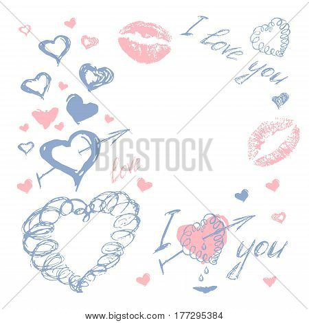 Love doodle romantic background vector with hand drawn lip kiss, hearts and amour arrow. Wedding and invatation card concept