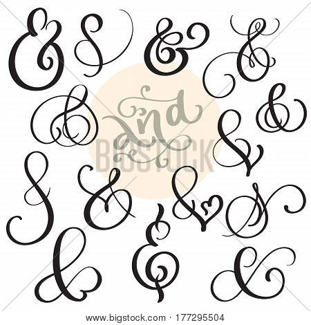 vector set Vintage sign And Ampersand on white background. Calligraphy lettering illustration EPS10.