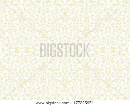 Beige swirl seamless pattern texture vector on white background. Vintage wrapping paper design