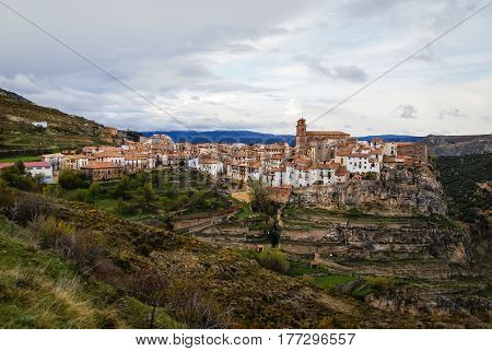 Cityscape from a hill at Villarluengo, Teruel, Aragon, Spain