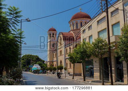 Rethymno, Greece - August  4, 2016:  Four Martyrs Church.