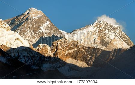 Evening panoramic view of mount Everest and Lhotse with blue sky from Gokyo valley - Everest area Khumbu valley Nepal