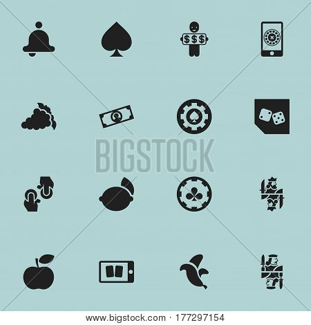 Set Of 16 Editable Casino Icons. Includes Symbols Such As Dice, Black Heart, Cell Play Cards And More. Can Be Used For Web, Mobile, UI And Infographic Design.