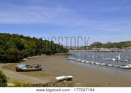 A view of Conwy harbour in North Wales