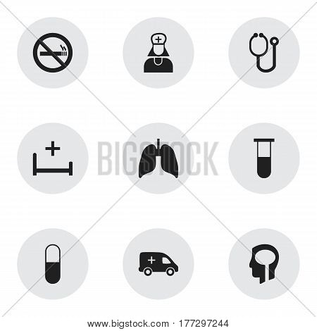 Set Of 9 Editable Clinic Icons. Includes Symbols Such As Stop Smoke, Clinic Room, Drug And More. Can Be Used For Web, Mobile, UI And Infographic Design.