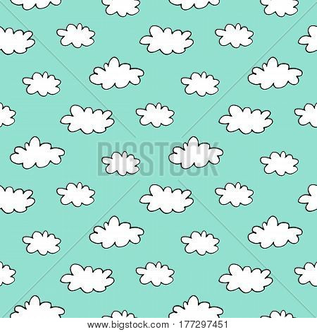 Sweet cartoon sky pattern with hand drawn doodle clouds. Cute vector blue sky pattern. Seamless cheerful sky pattern for fabric, wallpapers, wrapping paper, cards and web backgrounds.