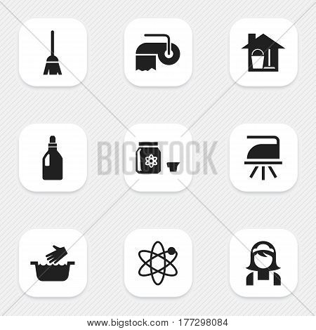 Set Of 9 Editable Dry-Cleaning Icons. Includes Symbols Such As Hotel Staff, Laundry Detergent, Power And More. Can Be Used For Web, Mobile, UI And Infographic Design.
